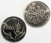 2 Coin Lot 1977 And 1981 Cyprus 500 Mils Uncirculated Copper Nickel Coins Toning