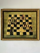 1963 Vintage Expressionist Oil Painting Knights Queen Horse Old Antique Eur