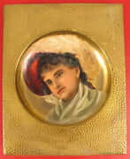 Antique Hand Hammered Copper Oil Painting Victorian Lady Wall Hanging Rare