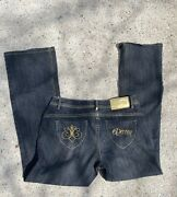 House Of Dereon Blue Flares With Gold Size 14 Y2k Bratz