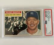 1956 Topps Mickey Mantle New York Yankees 135 Psa 3 New Label Gray Back