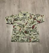 Vintage Big Dogs Hawaiian Golf Shirt Polo Drinks Beer Itand039s 5 Oandrsquoclock Somewhere M