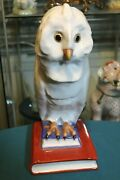 Collectible Old Rare And Largest Herend Porcelain Figurine Owls On Books 5079