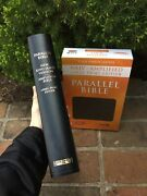 Large Print Black Leather Nkjv And Classic Amplified 1987 Ampc Parallel Bible