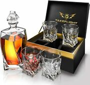 Set4 Crytstal Lead Free Whiskey Cocktail Glasses+twist Style Decanter Gift Men