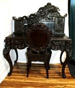 Antique Meiji Period Japanese Mt Fuji Dragon Hand Carved Writing Desk W/ Chair