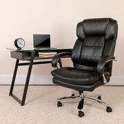 Big And Tall Office Chair | Black Leathersoft Swivel Executive Desk Chair W/wheels