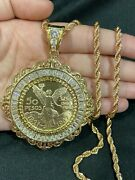 Gold Plated Men 50 Pesos Mexican Coin White Cz Filigree Centenario And Rope Chain