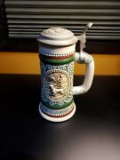 Avon 1978 Ceramic Beer Stein W/lid Trout And Dog Made In Brazil By Ceramarte