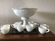 Vintage Thatcher White Milk Glass Pedestal Punch Bowl Set Concord Early American