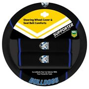 84038 Canterbury Bulldogs Nrl Car Steering Wheel Cover And Seat Belt Comforts Pads