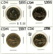 1995 1997 1998 Canada 1 Dollar Unc From Sets Lot Of 4 13372