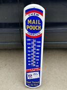Vintage Mail Pouch Chew Tobacco Metal Wall Thermometer Advertising Sign 39