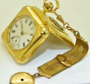 Wwi Imperial Russian Officerand039s 18k Gold Plated Square Shaped Pocket/desk Watch