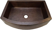 Soluna Copper Farmhouse Sink - 36 Hammered Copper Kitchen Sink Rio Grande Finis