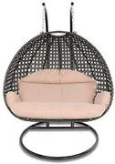 Island Gale Luxury Comfort 2 Person Outdoor Patio Hanging Wicker Swing Chair