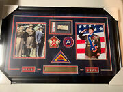 George S Patton Jr Autograph Signed Wwii General Cut Auto Collage Framed Psa/dna