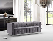 Iconic Home Primavera Sofa Velvet Upholstered Channel-quilted Button Tufted Sing