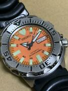 Seiko Discontinued Diver Scuba Orange Monster Automatic Mens Watch Auth Works