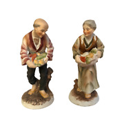 Vintage Porcelain Figurines Old Man And Woman With Baskets Made In Japan