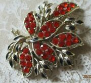 Lovely Big Sparkly Costume Jewellery Brooch 2.5 Red Sparkly Stones S4