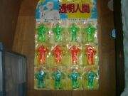 Invisible Man Figurine 3 Colors 12 Pcs Set With Mat Board Vintage From Japan