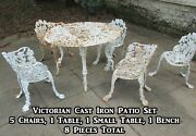 Victorian Cast Iron Patio Set, 8 Pieces, Grapes And Leaves Pattern, Garden Bench