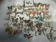 Vintage Butterfly Animal Fish Insect Enamel Rhinestone Brooch Pin Lot 50 +
