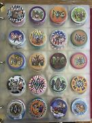 Vintage 90and039s Grunge Pogs Bottle Caps Toy Game Collection In Binder Lot Group 169