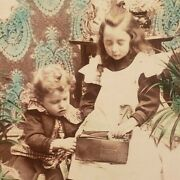 Victorian Room Children Counting Papaand039s Money Cat In Cart Color Photo Stereoview