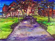 Arthur Robins Original Oil Painting Madison Square Park With Squirrels -nyc Art