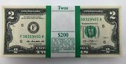 Bep Uncirculated Two Dollar Bills Series 2013 2 Sequential Notes Strap Of 100