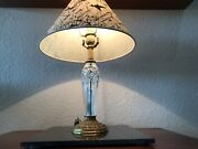 """Waterford Crystal Lismore Diamond Cut Boudior Table Lamp 19"""" With Shade"""
