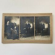 Antique Large Cabinet Card Photo Very Handsome Young Man Gay Int 3 Poses Hat