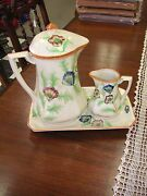 3pc. Coffee Set - 8 1/2 Tall Coffee Pot And 9 3/4 Tray- Sold In As/is Condition