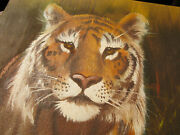 Lion Bengal Tiger Resting Hunting In The Grass Oil Painting Artist Signed Aston