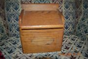 Vintage Wooden Recipe Box Salt Or Matches Box Stand Alone Or Wall Mount Oak