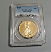 2009 Gold 50 American Eagle 1 Oz Coin Pcgs Mint State 69
