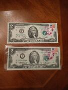 2x Franklin Mint Bicentennial 1976 2 Two Dollar Bill First Day Of Issue W/stamp