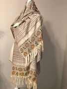 Vintage Mexican Rebozo Handmade Cotton Multicolor With Beads Shawl Wrap Scarf