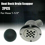 2 Pack 1-1/2 Inch Boat Yacht Deck Floor Drain Scupper 316 Stainless Steel Marine