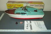 Vintage Marx Toys Chris Craft Battery Op Deluxe Cabin Cruiser Toy Model Boat