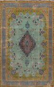 Floral Traditional Semi-antique Oriental Area Rug Hand-knotted Wool 9x13 Carpet