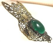 60s Huge Fly Style Ring Green Color Glass Silver Tone Kim Craftsmen