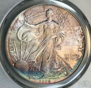 1996 American Silver Eagle Dollar Pcgs Ms68 Color Toned