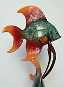 Amazing Large Mancini Angel Fish Cold Painted Lost Wax Bronze Statue - 42 Tall