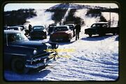 1950and039s Classic Cars In The Snow Ford Chevy Original Kodachrome Slide B6a