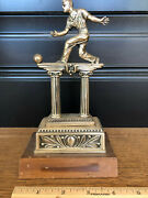 Antique English Vintage Bowling Wallace Brothers Trophy Wood 183.387 Tournament