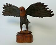 Great Vintage John Matassa Hand Carved Ficus Wood Bald Eagle With Fish Sculpture