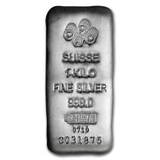 1 Kilo .999 Fine Silver Pamp Suisse Bar Bu W Assay Certificate And Serial Number